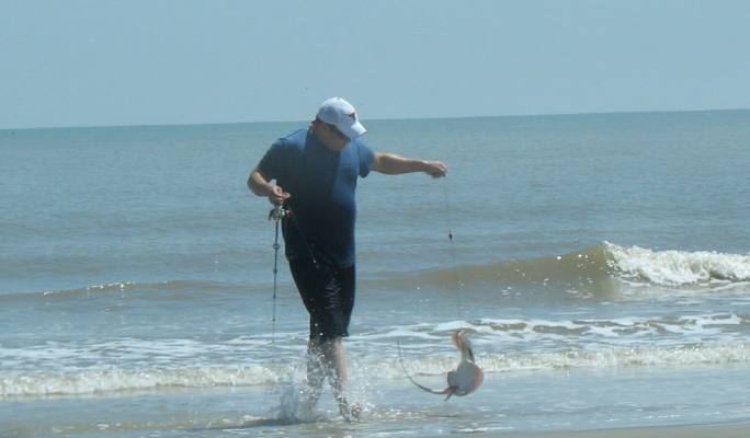 Surf Fishing For Stingray On Mustang Island