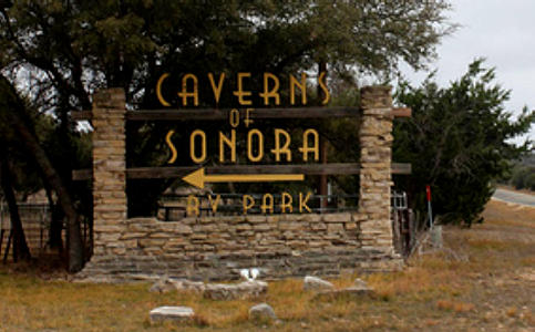 Entrance Sign For Caverns Of Sonora Complete With An Rv Park